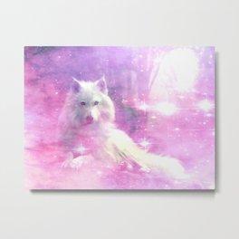 Majestic Wolf Pink Metal Print