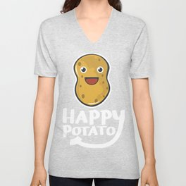 Happy Potato Funny Slogan graphic Unisex V-Neck