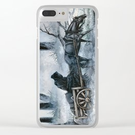 Grim Reaper with Horse in the Woods Clear iPhone Case