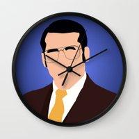 anchorman Wall Clocks featuring Brick Tamland - Anchorman by Tom Storrer