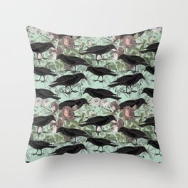 Crow's Vintage Garden Throw Pillow