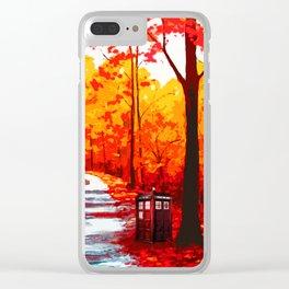 Tardis Art Autumn Clear iPhone Case