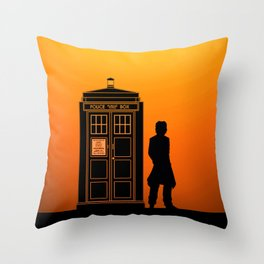 Tardis With The Eighth Doctor Throw Pillow