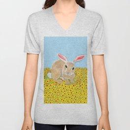 Rabbit among flowers Unisex V-Neck