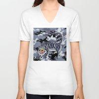 korean V-neck T-shirts featuring Camouflaged Korean Tiger by Hapa Mandu