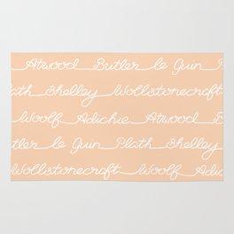 Feminist Book Author Surname Hand Written Calligraphy Lettering Pattern - Orange Rug