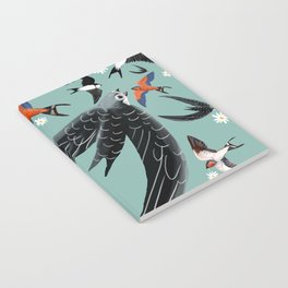 Swallows Martins and Swift pattern Turquoise Notebook