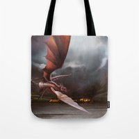 smaug Tote Bags featuring Smaug Burns Lake-Town by Andy Fairhurst Art