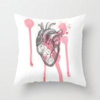 battlefield Throw Pillows featuring My Heart is like a Battlefield by ArtLm