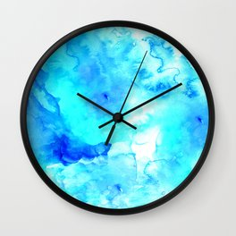 Modern blue sea hand painted watercolor Wall Clock