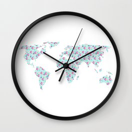Earth Map One Sweet World Pink and Blue Wall Clock
