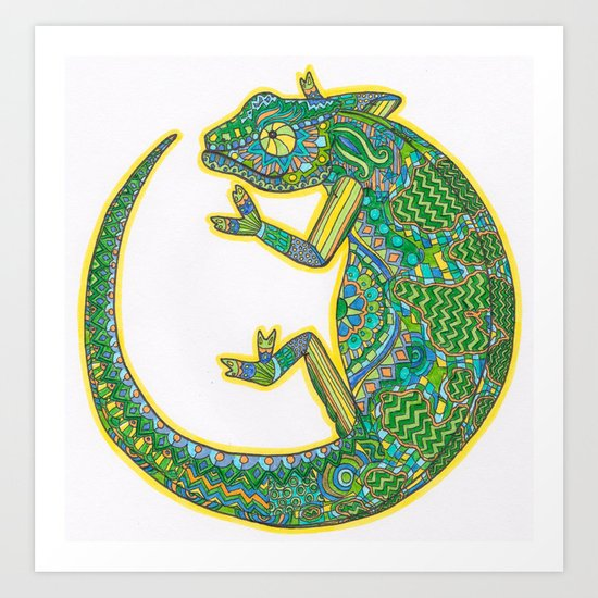 Quirky Chameleon Art Print