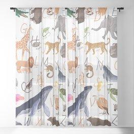Animal Alphabet Sheer Curtain
