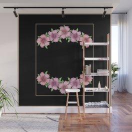 Vintage . The Azalea flowers on a black background . Retro . Wall Mural