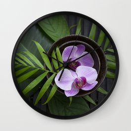 Zen Style Pink Orchids And Palm Leaf Wall Clock