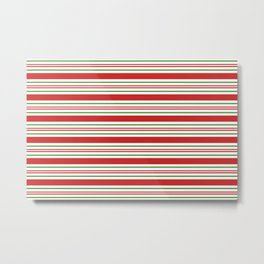 Red Green and White Candy Cane Stripes Thick and Thin Horizontal Lines Festive Christmas Metal Print