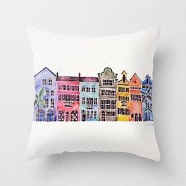 Rainbow Row – Charleston Throw Pillow