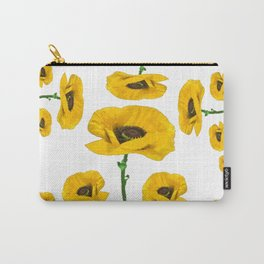 YELLOW POPPIES FLOWER ON WHITE Carry-All Pouch