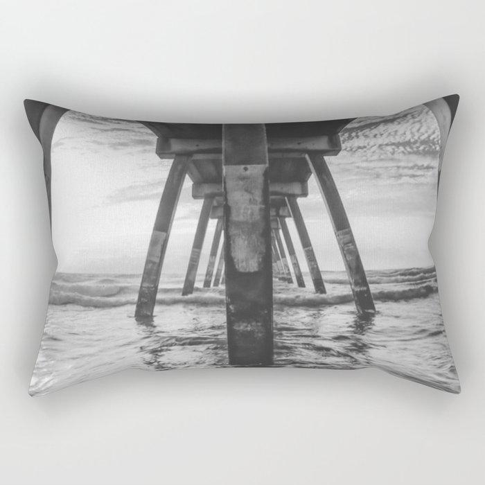 Beautiful Sunset Ocean Beach Scene (Black and White) Rectangular Pillow