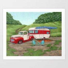 Patriotic Vintage Camper And Truck Art Print