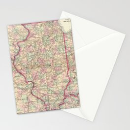 Vintage Map of Illinois (1874)  Stationery Cards