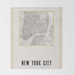 Vintage New York City Gold Foil Location Coordinates with map Throw Blanket