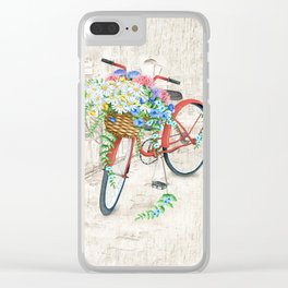 Vintage Red Bicycle with Flowers City Background Clear iPhone Case