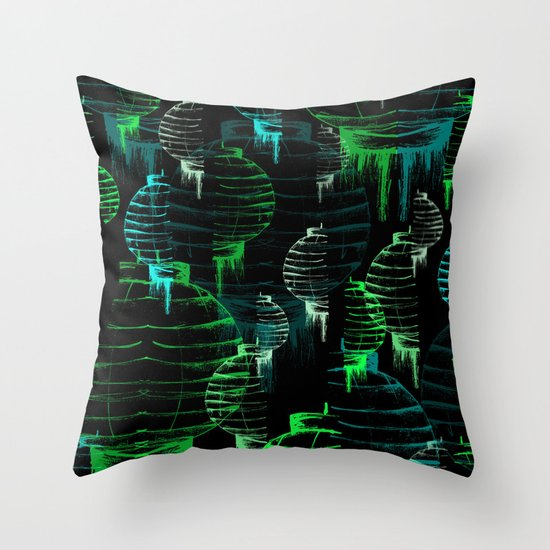 Lantern - green Throw Pillow