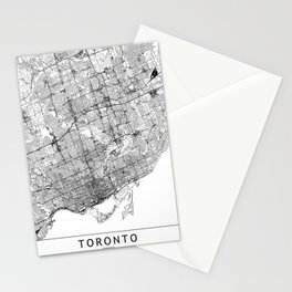 Toronto White Map Stationery Cards