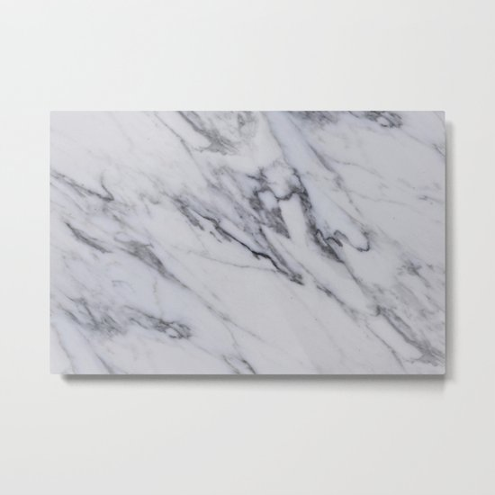 Marble - Black and White Gray Swirled Marble Design Metal Print
