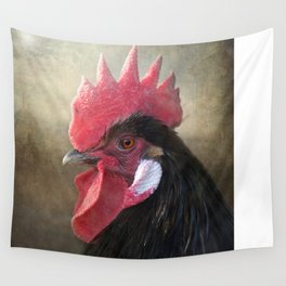 Black Rooster Wall Tapestry