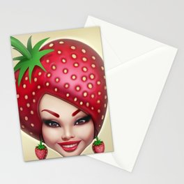 Strawberry fruit face Stationery Cards