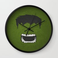 hulk Wall Clocks featuring Hulk by Liquidsugar