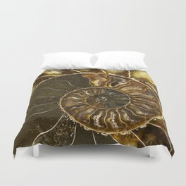 Earth treasures - Brown and yellow ammonite Duvet Cover