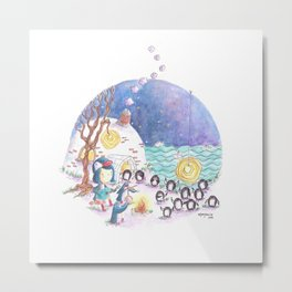 PenguinGirl and her Music Maker Penguins Bring Love, Laughter and Light by the Sea Metal Print