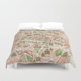 Vintage Map of Paris (1920) Duvet Cover