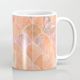 Mermaid scales. Peach and pink watercolors. Coffee Mug