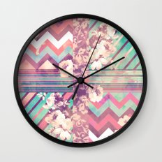 Retro Pink Turquoise Floral Stripe Chevron Pattern Wall Clock