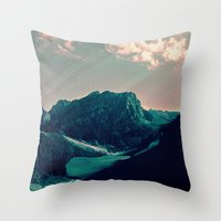snowboard Throw Pillows featuring Mountain Call by Schwebewesen • Romina Lutz