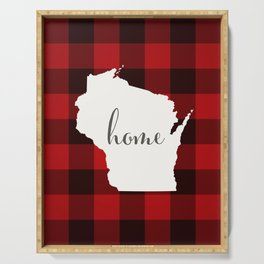 Wisconsin is Home - Buffalo Check Plaid Serving Tray