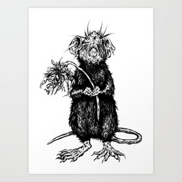 Rat with Flower #4 Art Print