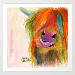 Scottish Highland Cow ' JUICY FRUIT JOSIE ' by Shirley MacArthur Art Print
