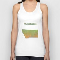 montana Tank Tops featuring Montana Map by Roger Wedegis