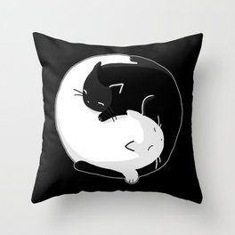 Yin Yang Cats Throw Pillow