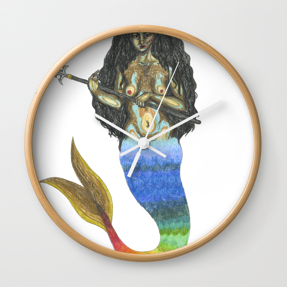 Warrior Mermaid With A Spear Wall Clock by Mermaidswithweapons CLK8337819