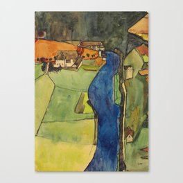 "Egon Schiele ""Stadt am blauen Fluss (Town on the blue river)"" Canvas Print"