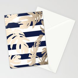 Simply Tropical Palm Leaves on Navy Stripes Stationery Cards