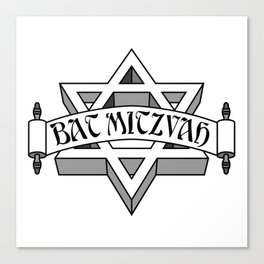 Bat Mitzvah with silver scroll &  Star of David  Canvas Print