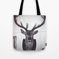 antlers Tote Bags featuring Antlers  by Mark Spence