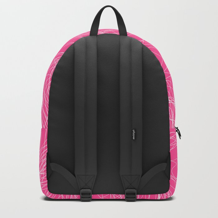 Abstract white circles and dots - abstract pattern - on pink Backpack